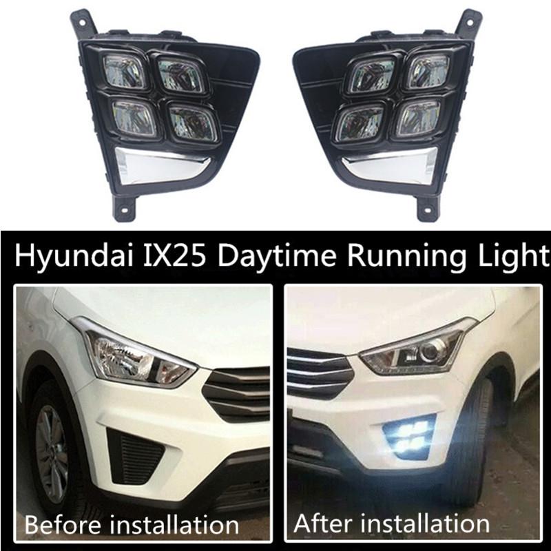 93.34$  Watch here - http://ali592.worldwells.pw/go.php?t=32758858175 - For Hyundai IX25 2015 LED 12V DRL Daytime Running Light Bar Fog Lamp Bulbs Daylight Light Quality Assured 93.34$