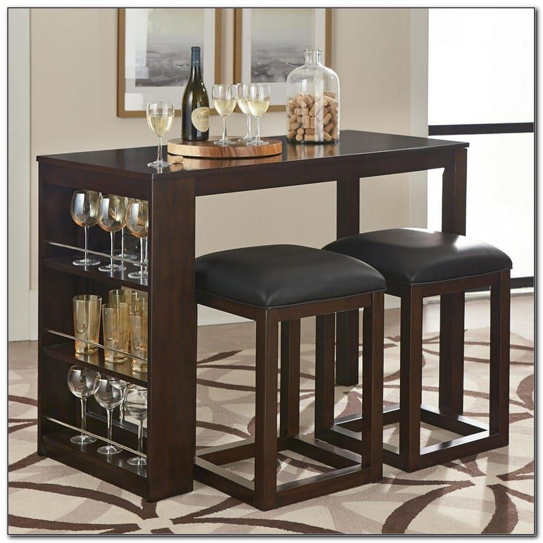 3 Piece Counter Height Dining Set With, Bar Height Table With Storage