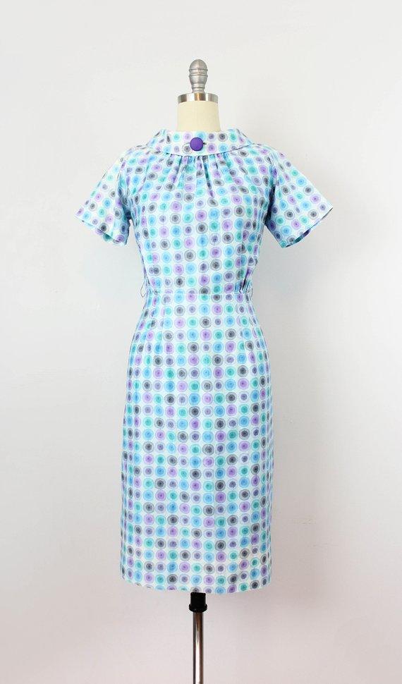 5454a502510 SALE   vintage 50s dress   1950s dot print cotton wiggle dress   circle  polka dot dress   aqua blue
