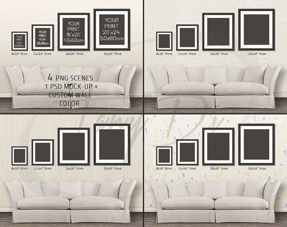 Wall Display Guide 8x10 11x14 16x20 20x24 Scene Creator Photoshop Print Mockup Vertical Horizontal Frames Blue Sofa Interior Wdg 4 4 Frames On Wall Living Room Wood Floor Wall Display