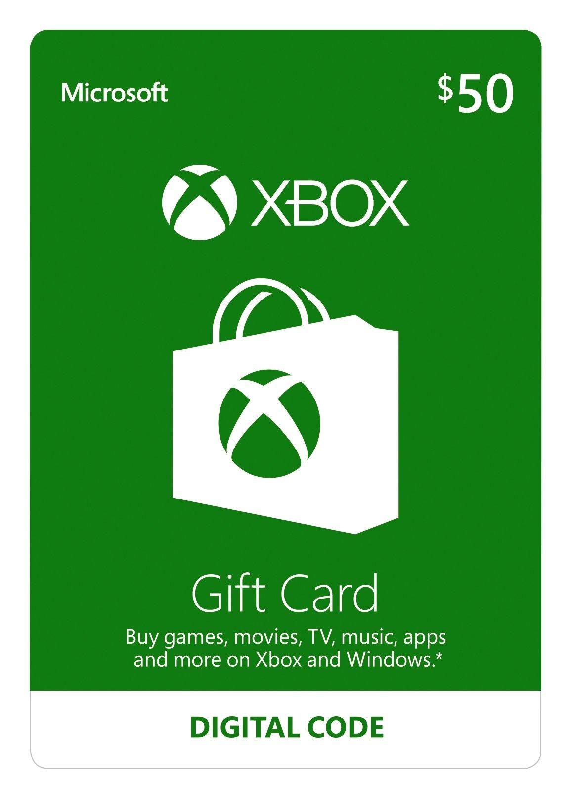 Xbox 50 Xbox Gift Card Xbox Live Gift Card Xbox Gifts