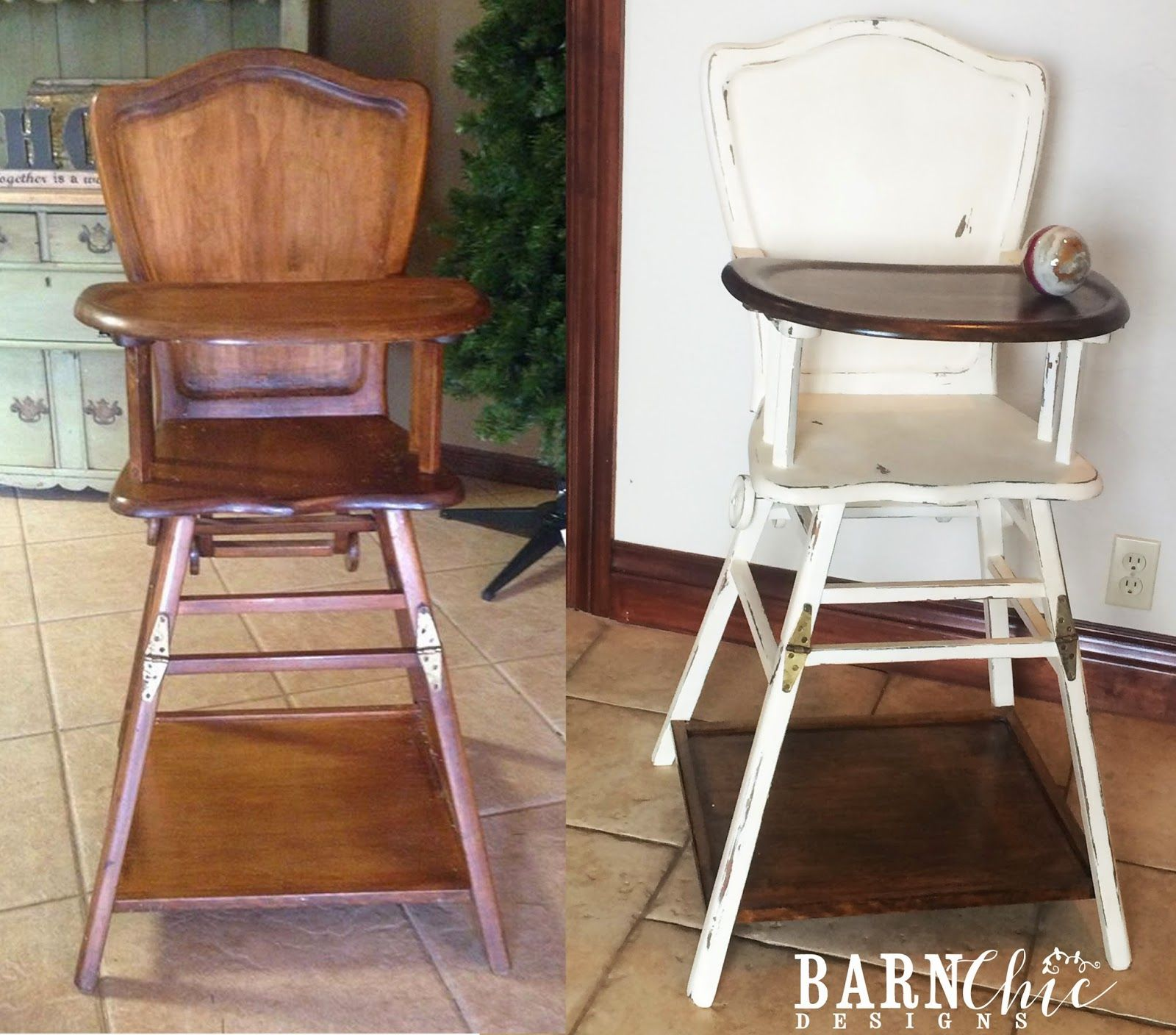 Refinished Antique Old Wooden High Chair By Barn Chic Designs. Two Toned  Refurbished High Chair. Baby FurnitureRefinished ...