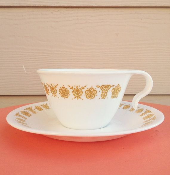 Butterfly Gold Pyrex Corelle Cup and Saucer by GypsyBeeeVintage, $5.00