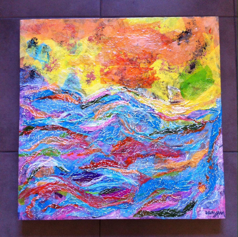 Yvonne rémond murphy watercolour collage oil pastel on canvas