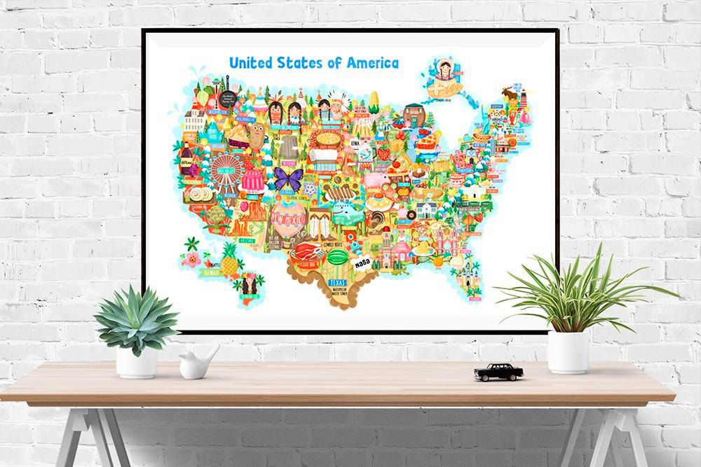 I created this illustrated map of the United States of America as
