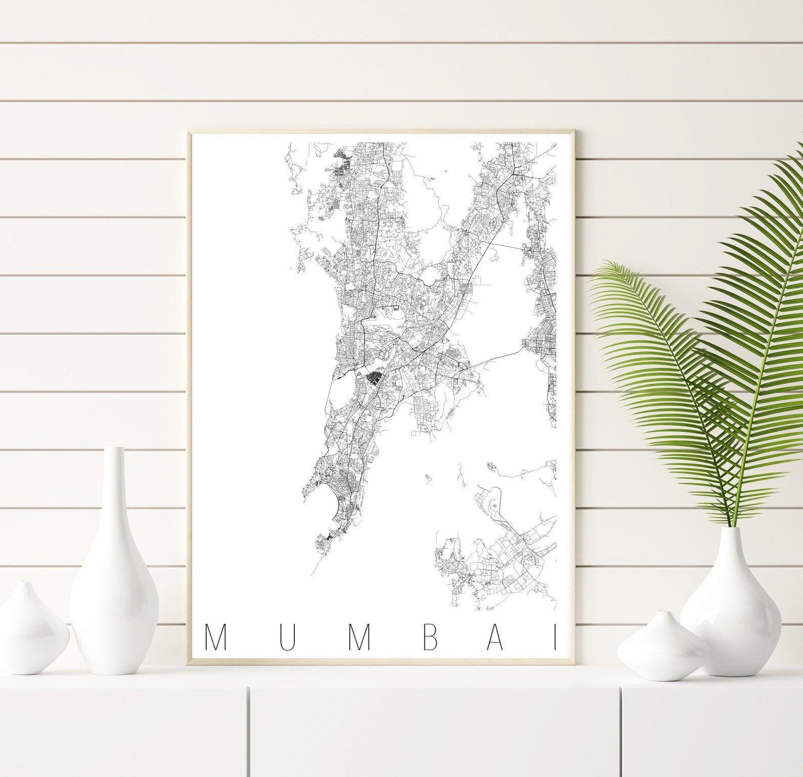 Karte Von Mumbai Streets India Map Minimalismus Karte