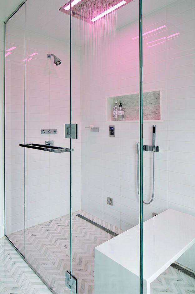 modern shower head recessed bathroom lighting. Modern Master Bathroom With Handheld Showerhead, Herringbone Tile Floors, Frameless Showerdoor, Bathroom, Flush Light Shower Head Recessed Lighting E