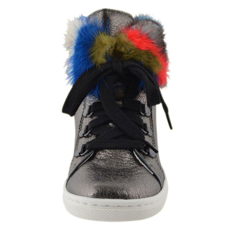 Kids Cavern - Andrea Montelpare Silver High Top Fur Trainers. - Armani  Junior f914206289c