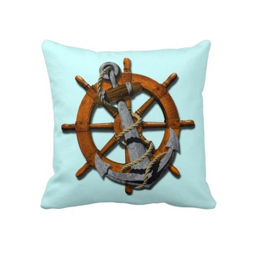 Nautical Ships Wheel And Anchor Throw Pillow