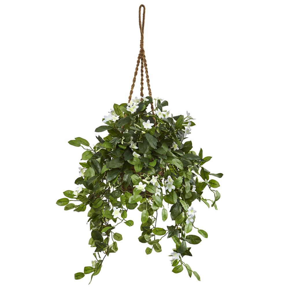 Nearly Natural Indoor Stephanotis Flowering Artificial Plant In Hanging Basket Artificial Plants Outdoor Small Artificial Plants Artificial Plants