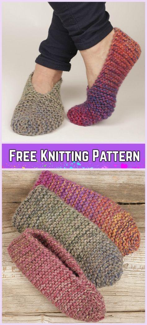 Knit Side Step Garter Stitch Slippers Free Knitting Pattern | Tejido ...