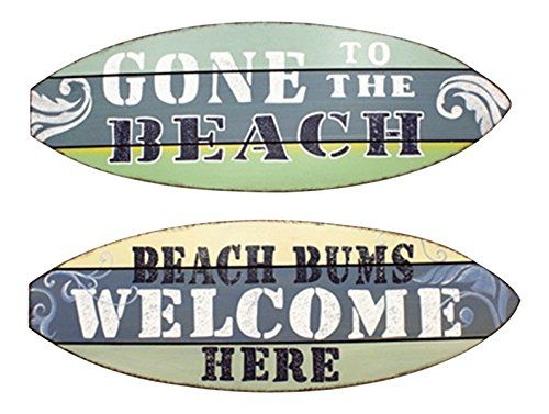 Beach Bums Welcome Gone To Beach Surfboard Shape Wood Wall Sign Plaques Set Of 2 Be Sure To Check Out This Awe Home Decor Surfboard Shapes Home Decor Mirrors