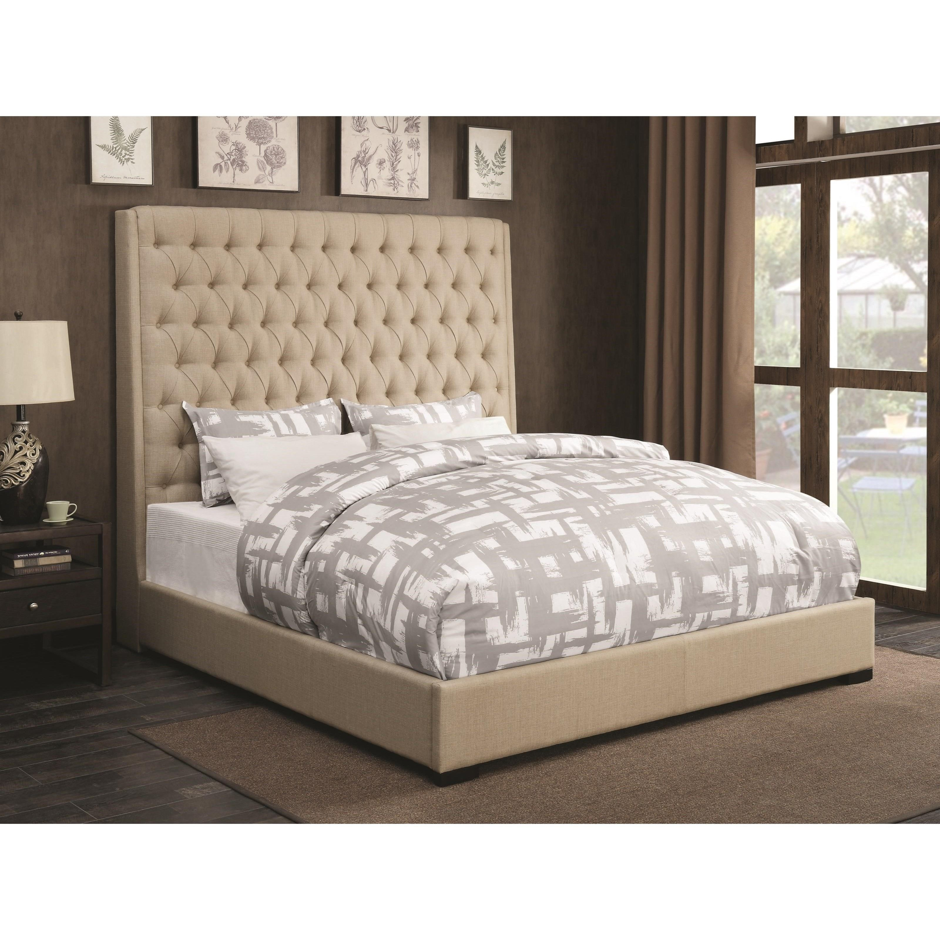 coaster upholstered beds upholstered king bed with diamond tufting