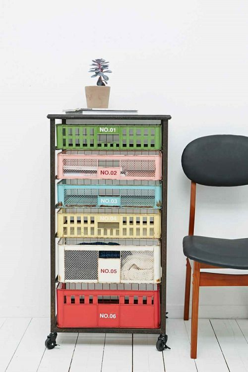 Brighten Up Your Creative Worke With These Colourful Home Office Storage Solutions Which Include Small Storage Cabinets Small Shelves And Wire