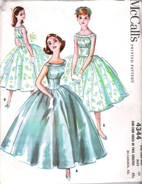 This was the pattern used by my Mom for her bridesmaids in 1959 | McCall's 4344 A