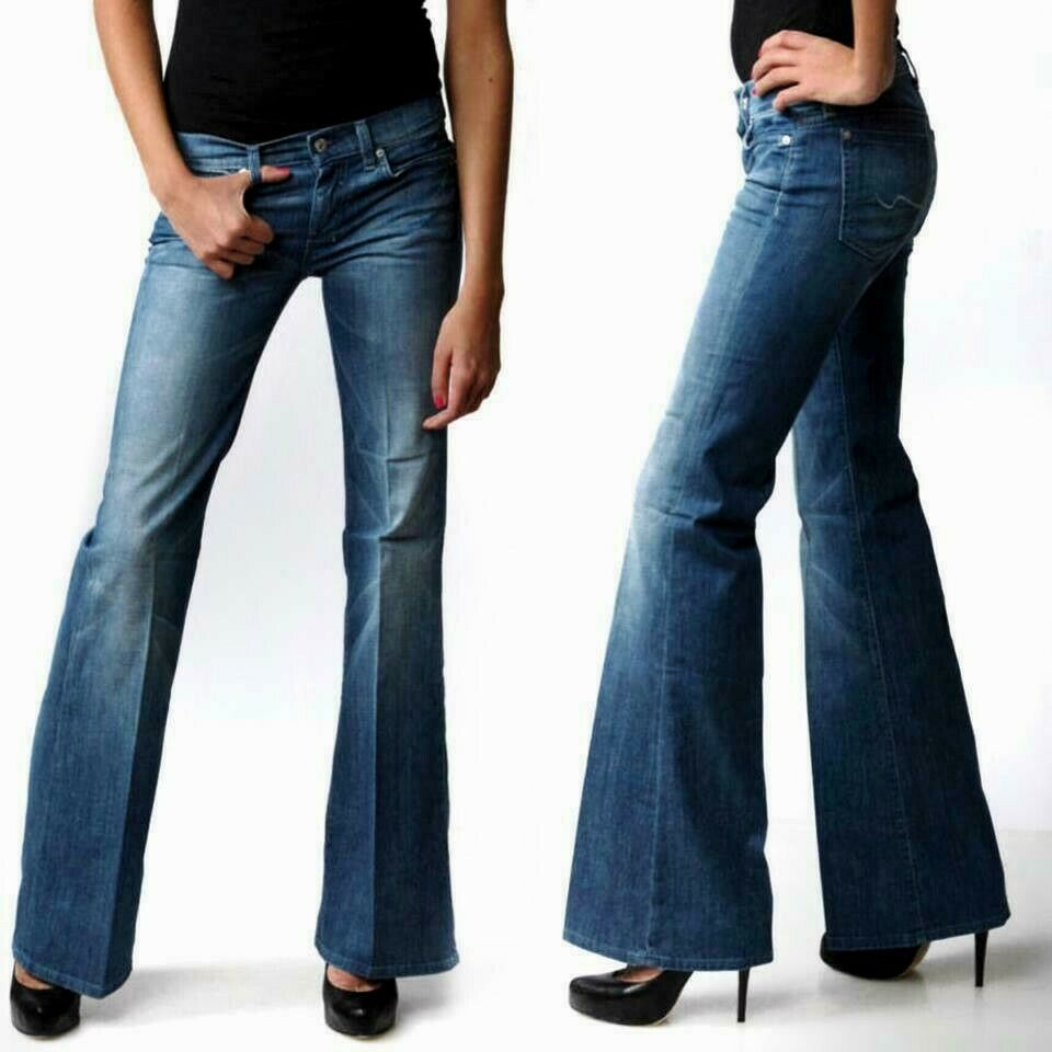 New 7 For All Mankind Dojo Jeans Sz 27 33 Leg Uk 8 10 Women Flare