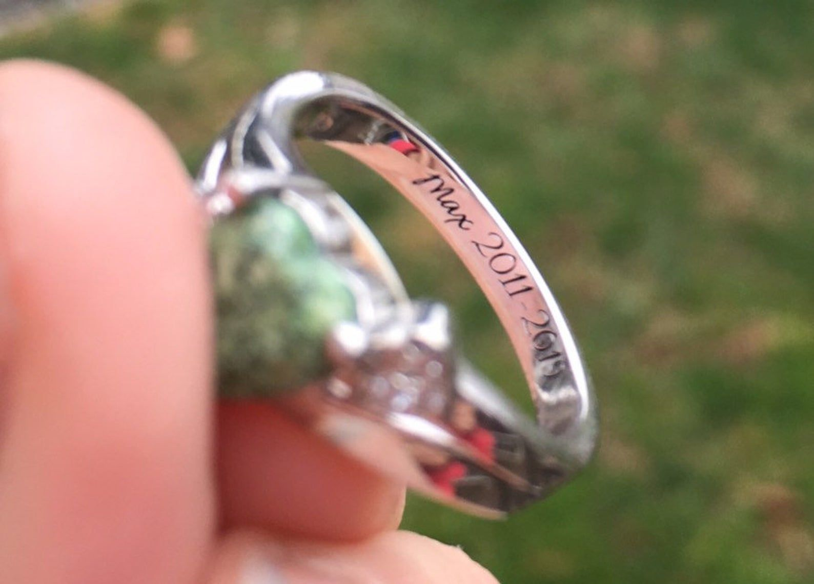Cremation ring pet ash ring sterling pet ashes