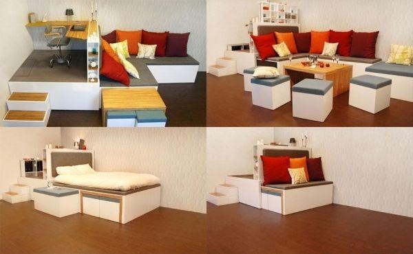 platzsparende m bel 20 ideen f r kleine r ume. Black Bedroom Furniture Sets. Home Design Ideas