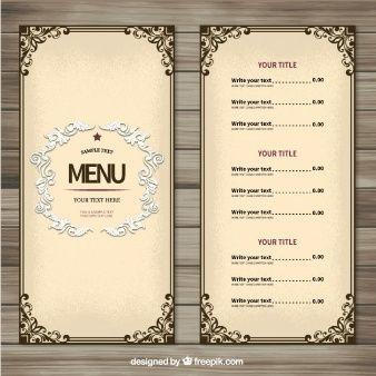 装飾用のメニューテンプレート メニュー pinterest menu template