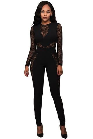 255a3ecf3fc7 ... Flirty Rompers for Fashionable Ladies. Black Lace Spice Long Sleeves  Jumpsuit LAVELIQ