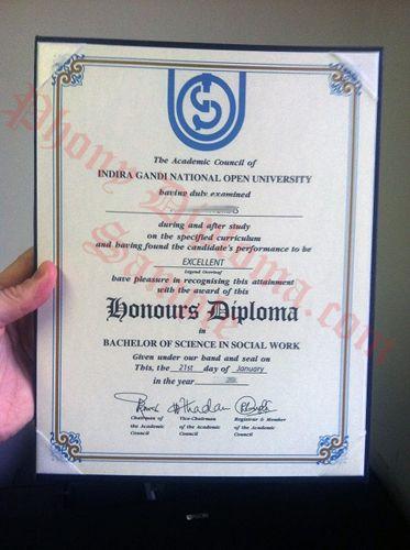 Indira Gandi National Open University India Fake Diploma Sample from - copy university diploma templates