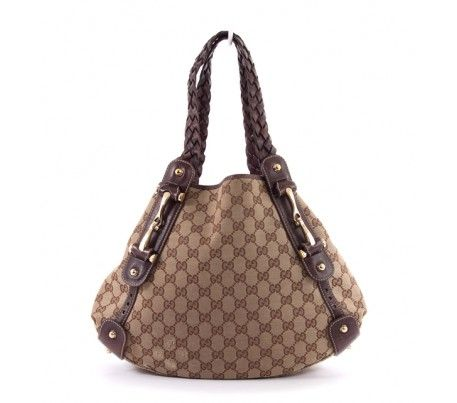 Gucci Brown Gg Monogram Canvas Pelham Classic Braided Handles Shoulder Bag