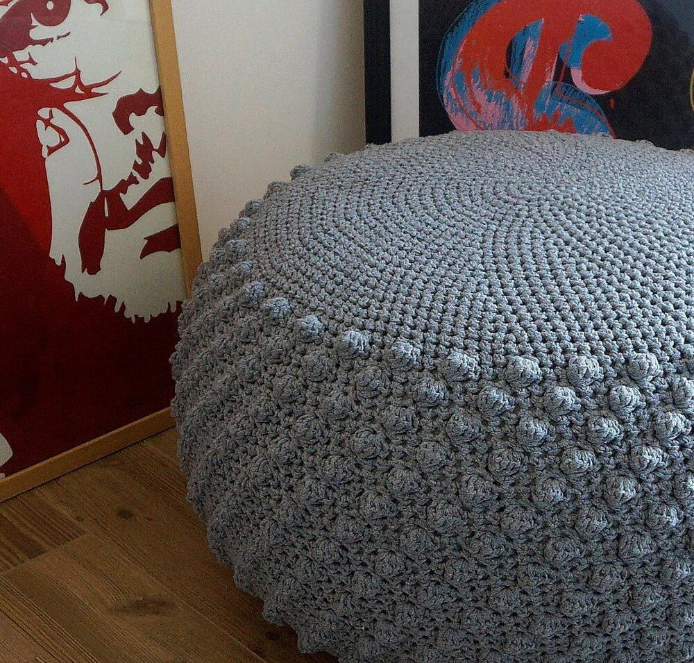 Bobbles ottoman crochet pattern by iswoolish in 2020
