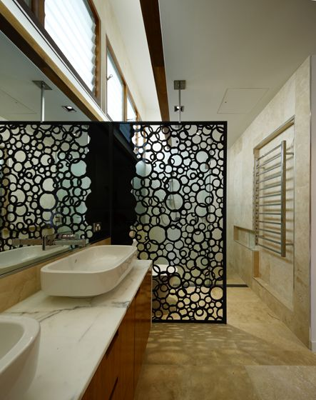Excellent use of perforated screen as room divider The Browne