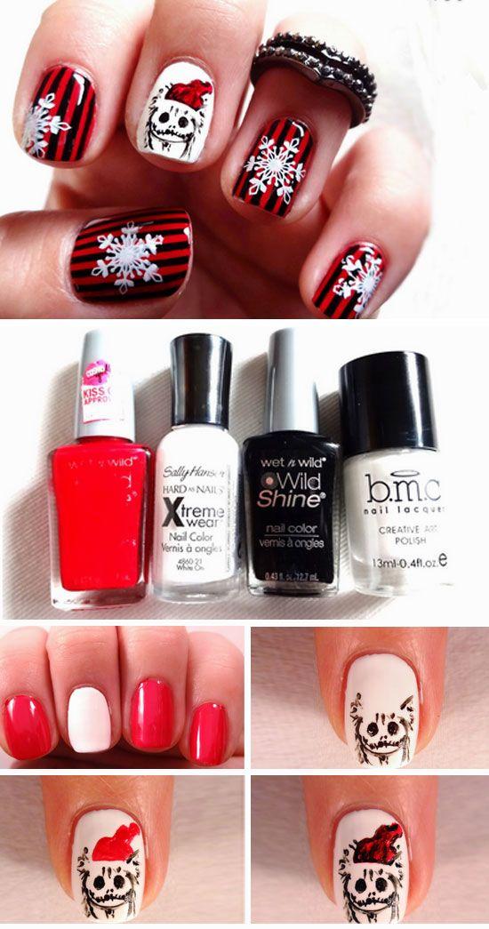 27 Diy Christmas Nail Art Ideas For Short Nails Christmas Nails Nightmare Before Christmas Nails Diy Christmas Nail Art