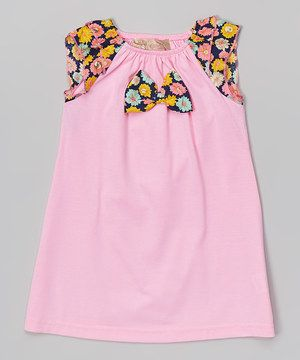 Another great find on #zulily! Pink Floral Bow Angel-Sleeve Dress - Toddler & Girls by Lele Vintage #zulilyfinds