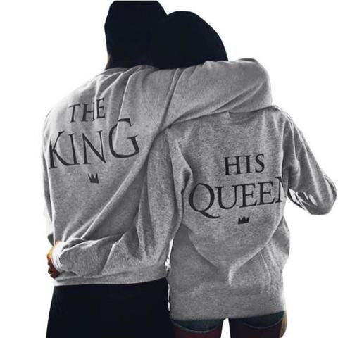 valentine tshirts men women grey new family king queen letter print long sleeve t shirt