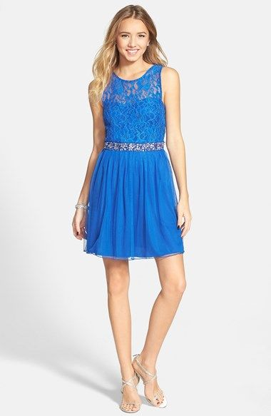 Speechless Embellished Lace Bodice Skater Dress Juniors Available