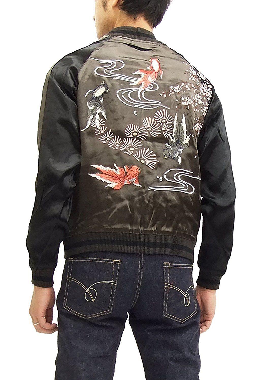 e4aa2b58c Japanesque Japanese Souvenir Jacket 3RSJ-015 Goldfish Men's Sukajan ...