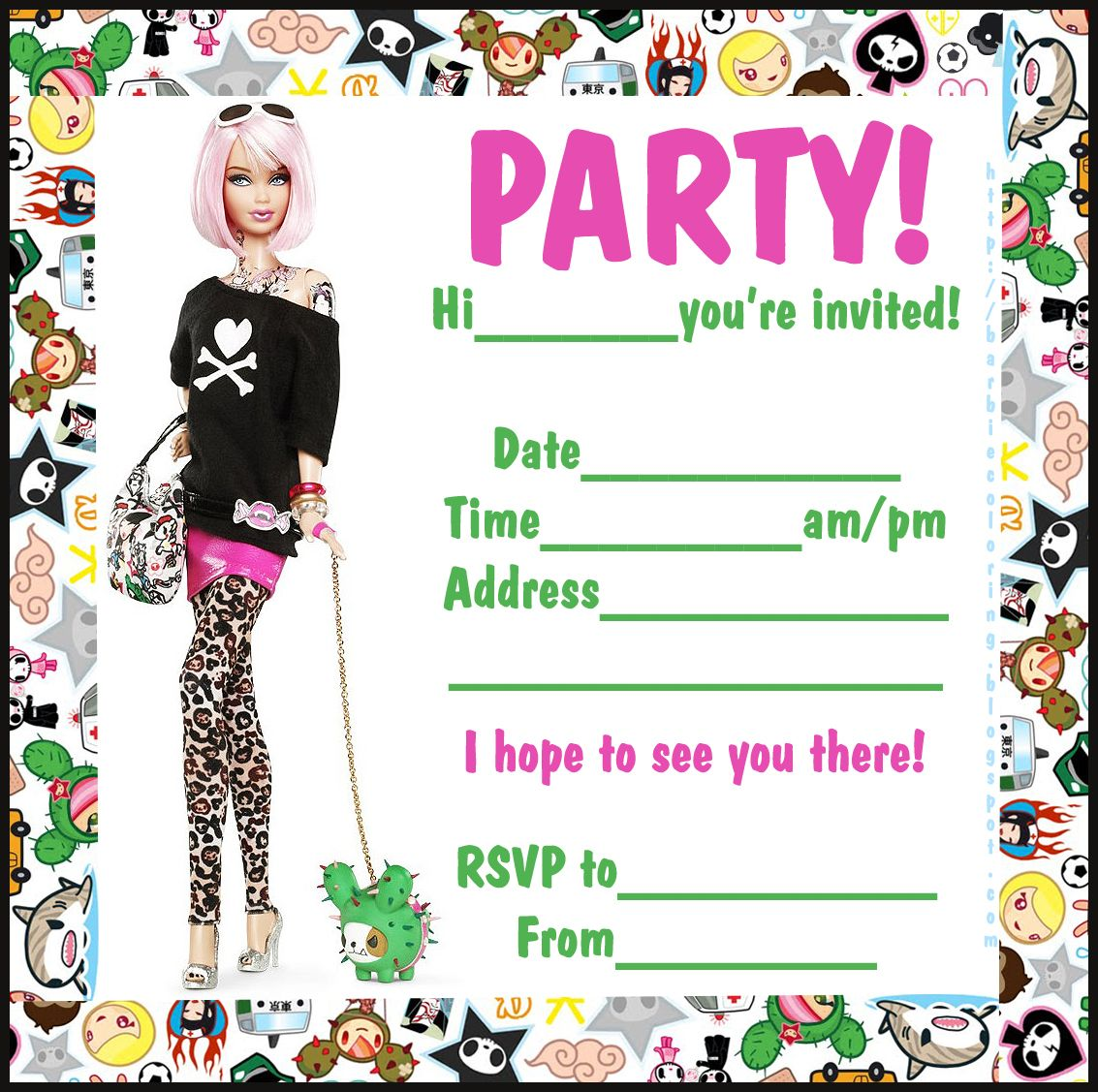 BARBIE COLORING PAGES: BARBIE PARTY INVITATIONS - VERY FUNKY | Free ...