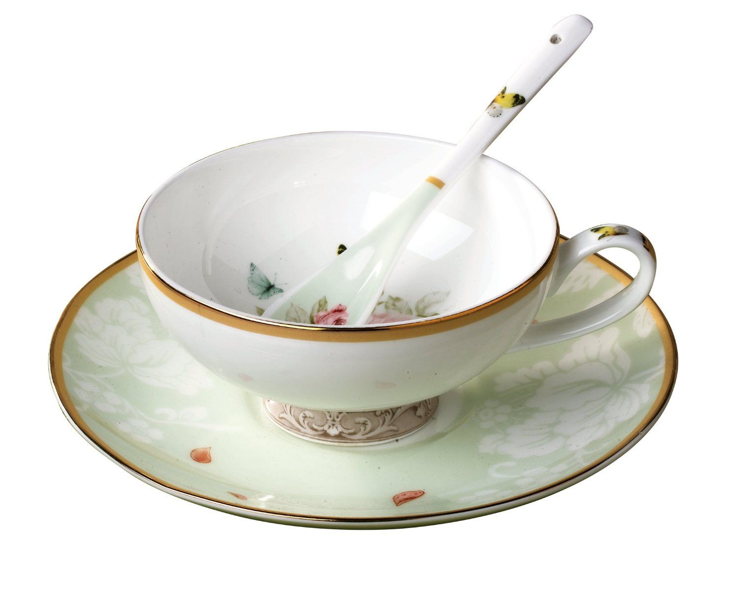Jsaron Porcelain Vintage Tea Coffee Cup With Spoon And Saucer Set