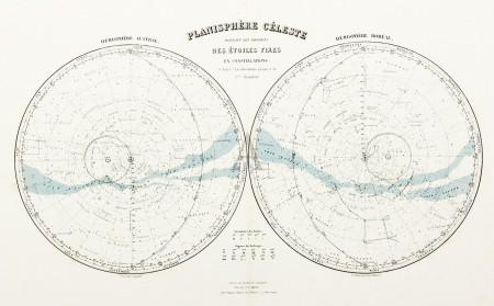 Planisphere Celeste Donnant Les Dividsions Des Etoiles Fixess En Constellations Antique Print Map Room Celestial Map Star Chart Constellations