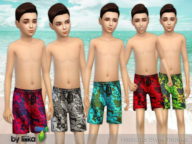 d2dbbb75d6 Hibiscus Swim Trunks Found in TSR Category  Sims 4 Male Child Swimwear