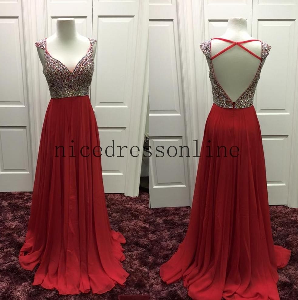 Vintage style prom dresses prom gowns spring real images open v