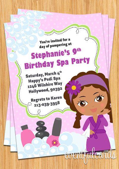 Birthday Spa Party Invitation – Little Girl Spa Party Invitations