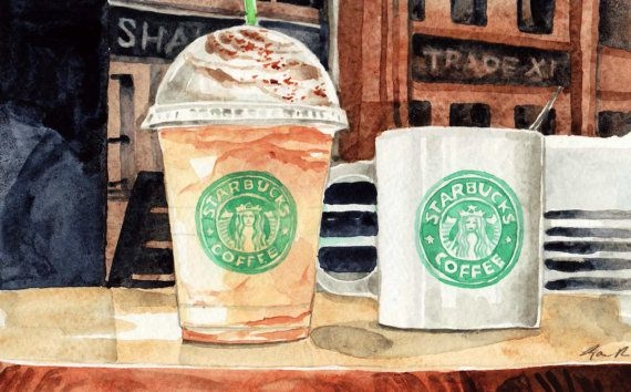 Starbucks Coffees Original Watercolor Painting 5 X 8 Fathers Day