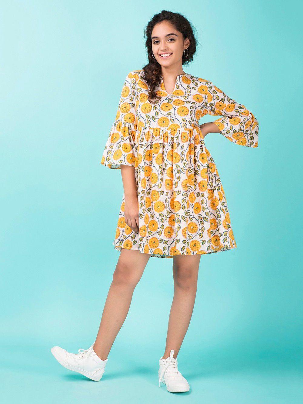 Buy Yellow Hand Block Printed Cotton Dress Online At Theloom Printed Cotton Dress Stylish Short Dresses Cotton Dress Indian [ 1333 x 1000 Pixel ]