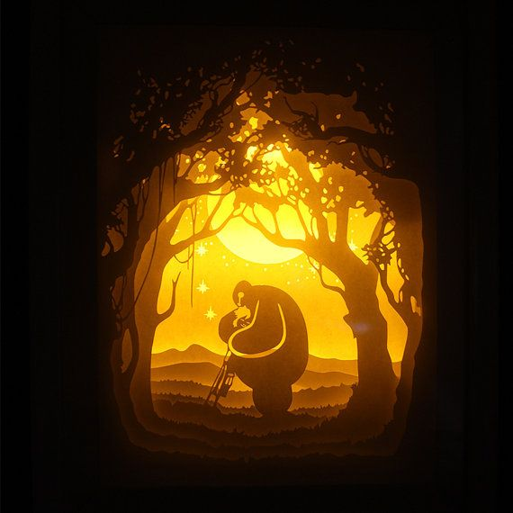 Silhouette baymax paper cut Light box Night light by trysogodar
