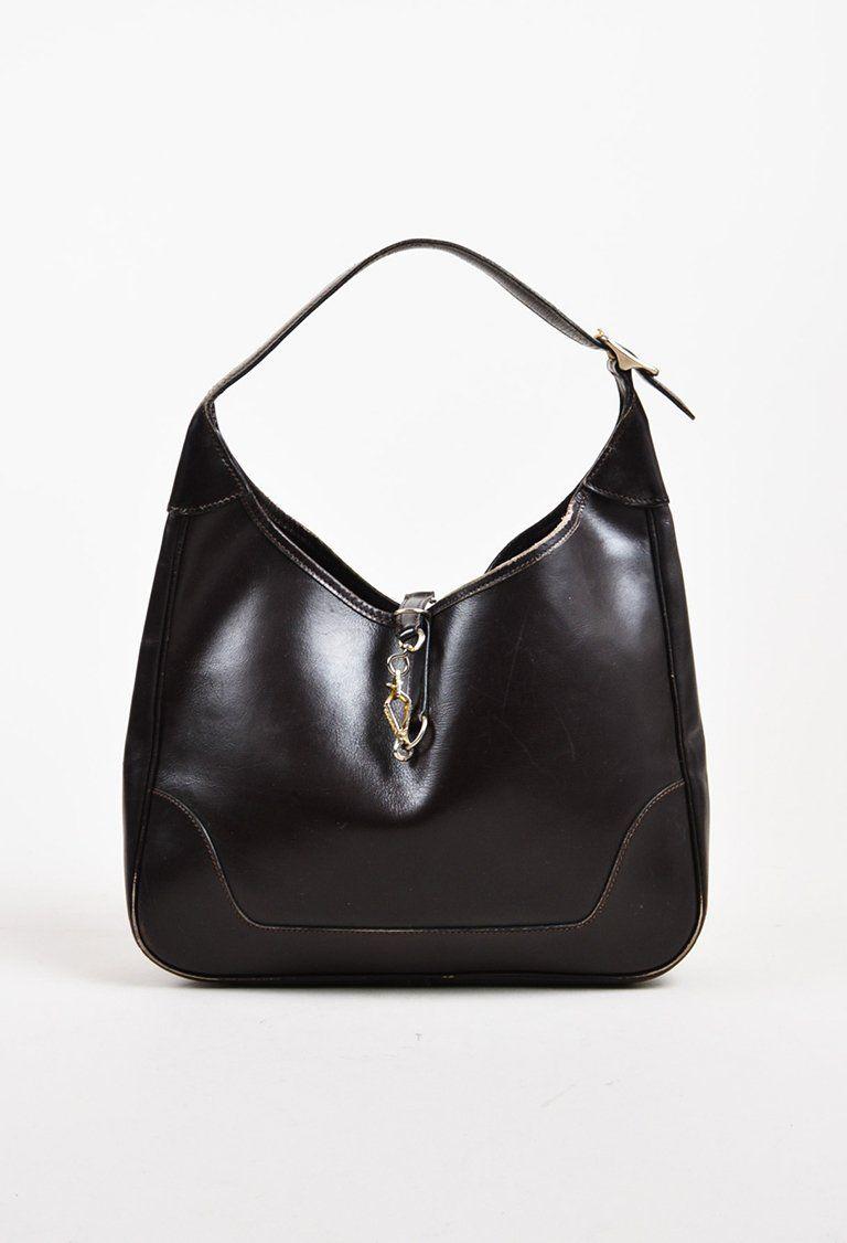 VINTAGE Hermes Dark Brown Leather