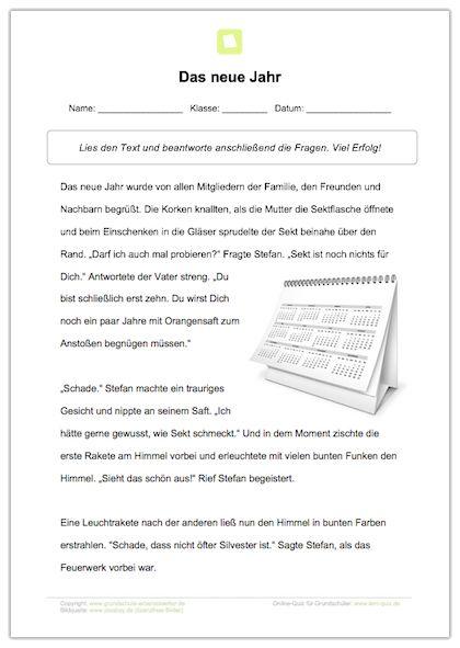 Arbeitsblatt: Lesetext - Das neue Jahr | Pinterest | Arbeitsblätter ...