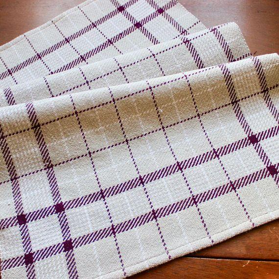 Kitchen Towel Handwoven Dish Hand Woven Cotton Plum Purple Gray White Windowpane Twill Neutral Chef