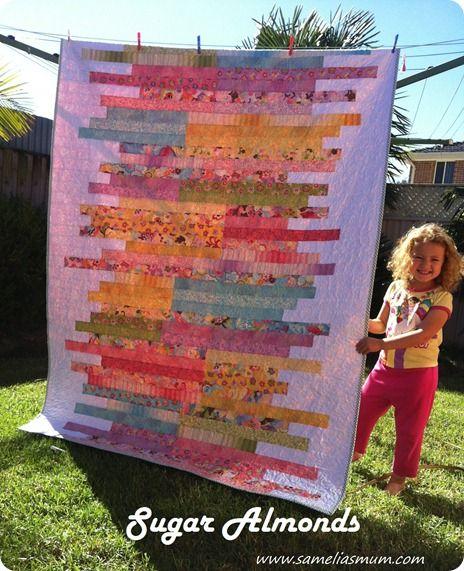 Sugar Almonds Quilt Pattern {Tutorial} lovely free quilt pattern ... : strip quilts using jelly rolls - Adamdwight.com