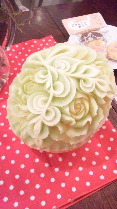 フルーツカービングfood garnish fruit carving work melon arte con