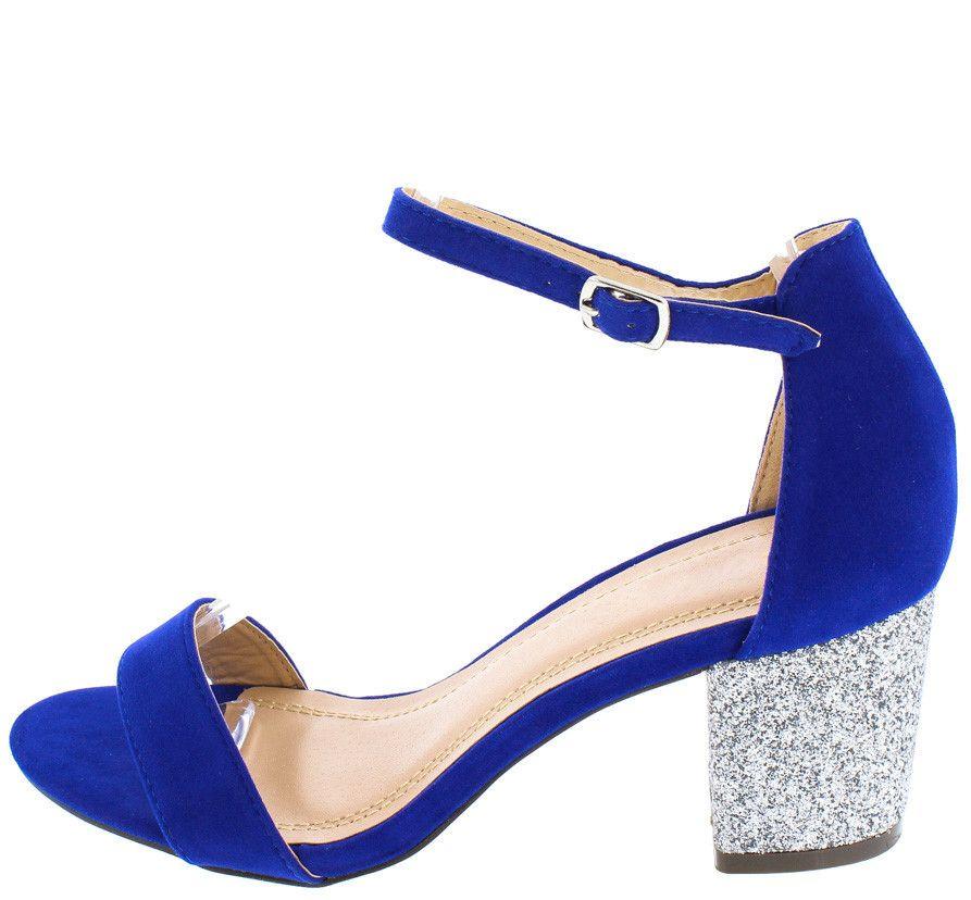 ab7e8701e361 WILLIAM ROYAL BLUE OPEN TOE SINGLE STRAP METALLIC GLITTER CHUNKY HEEL ONLY   10.88 Blue Wedge Shoes