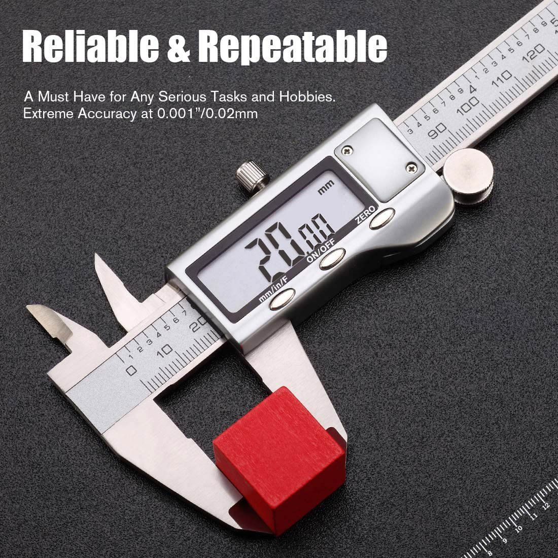 Digital Caliper 6 Inch Measuring Tool Stainless Steel Inch Mm Fractions Electronic Vernier Calipers Gauge Fo Measurement Tools Digital Calipers Vernier Caliper