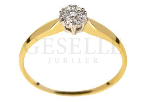 Romantyczny Złoty Pierścionek Zaręczynowy Z 7 Brylantami W